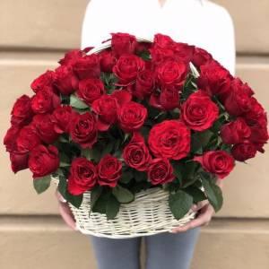 51 красная крупная роза в белой корзинке R107