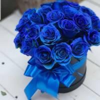 15 синих роз в коробке с лентами R187