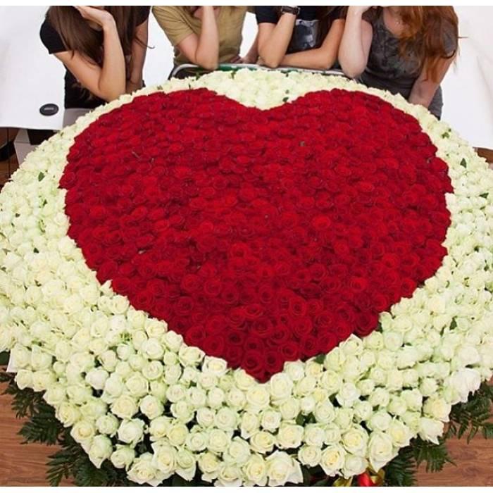 1001 роза в корзине с сердцем R084