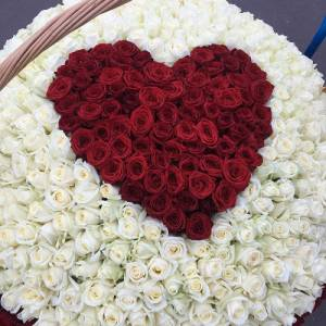 501 роза в корзине, букет с красным сердцем R927