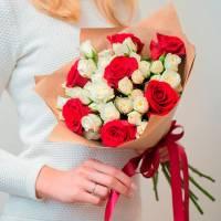 Букет 15 крупных роз ассорти R001